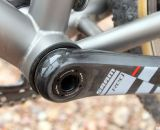 Moots uses a Press Fit 30 bottom bracket to move the bearings inside, widen the shell and keep the drivetrain light and stiff. © Cyclocross Magazine