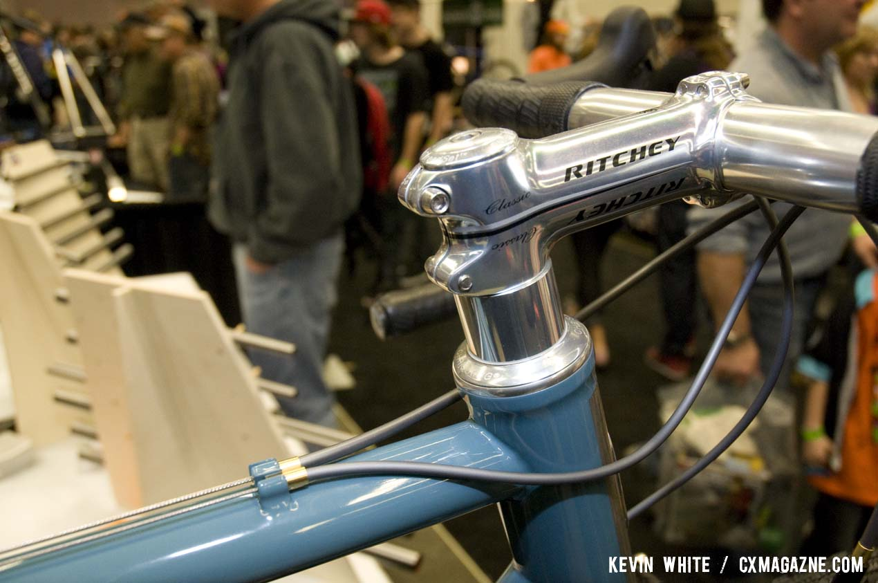"Ritchey's Classic aluminum bar and stem give the bike a bit of  ""old school"" look. A 44mm Chris King Inset helps with steering. © Kevin White"