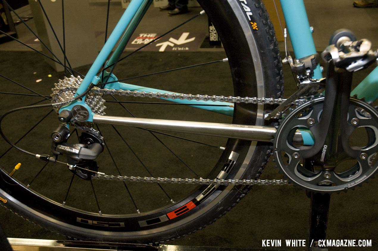 The SyCip Cross Dresser show bike features a polished stainless steel drive side chainstay and is fully equipped with Shimano's CX-70 cyclocross group. © Kevin White