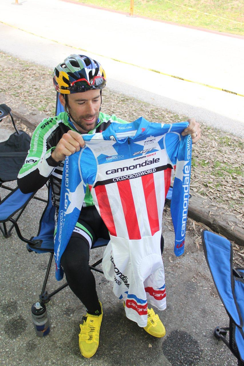 Tim Johnson unveils his new National Championship kit at the Surf City Finale, Aptos High, 2010 ? Cyclocross Magazine