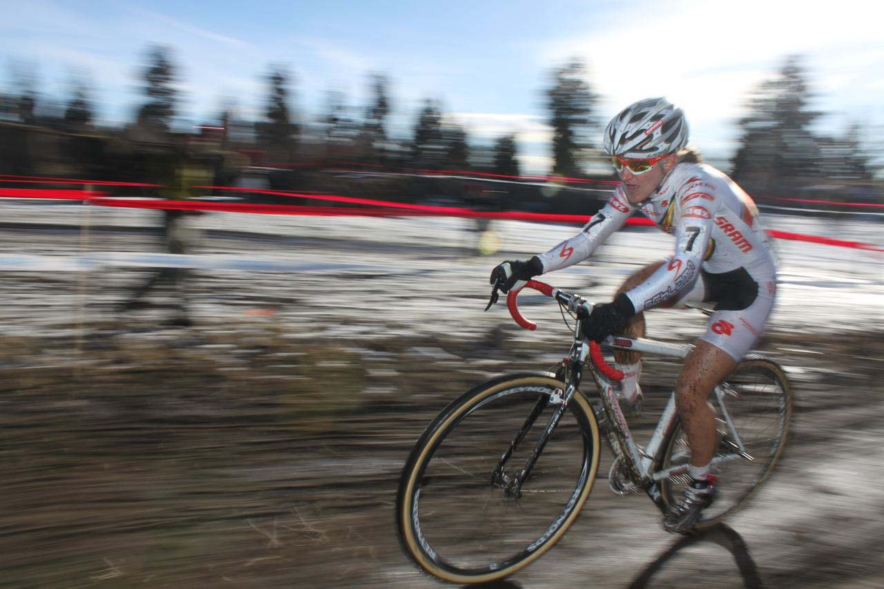 Amy Dombroski chased Compton but faded to third. ? Cyclocross Magazine
