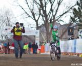 Claire Beeler (Alpha Bicycle Co. - Vista Subaru) knows how to celebrate a podium finish.  © Brian Nelson