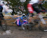 One of the crashes as the 50-54 men hit the mud for the first time ©Kenton Berg