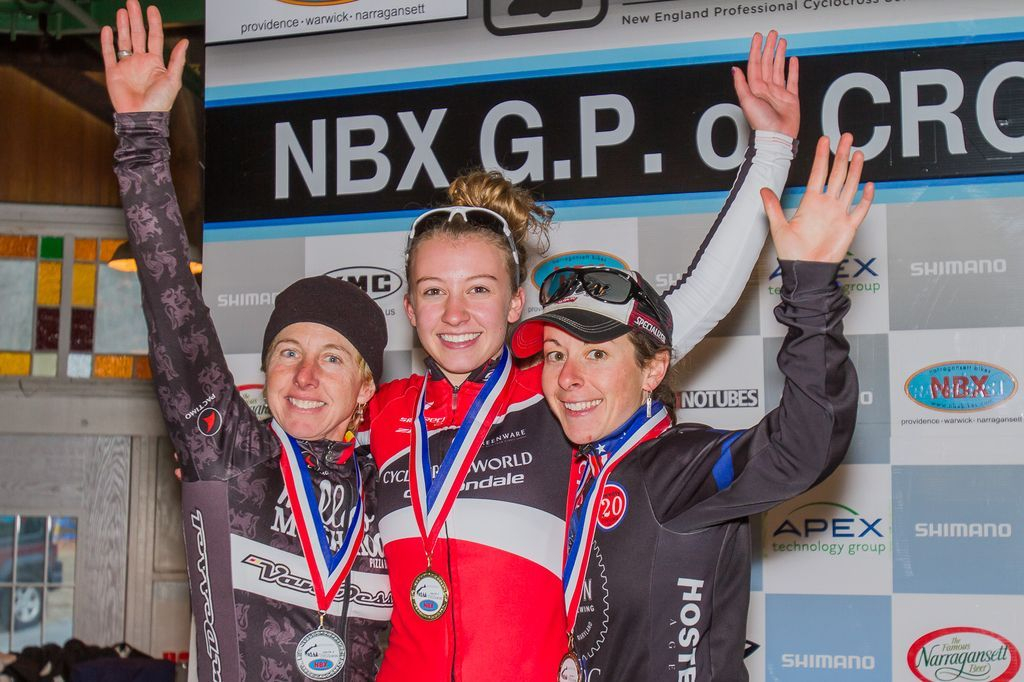 The Elite Women\'s podium (L-R): Laura Van Gilder (Van Dessel p/b Mellow Mushroom), 2nd; Emma White (Cyclocrossworld.com), 1st; Arley Kemmerer (C3 Twenty20 Cycling), 3rd. © Todd Prekaski