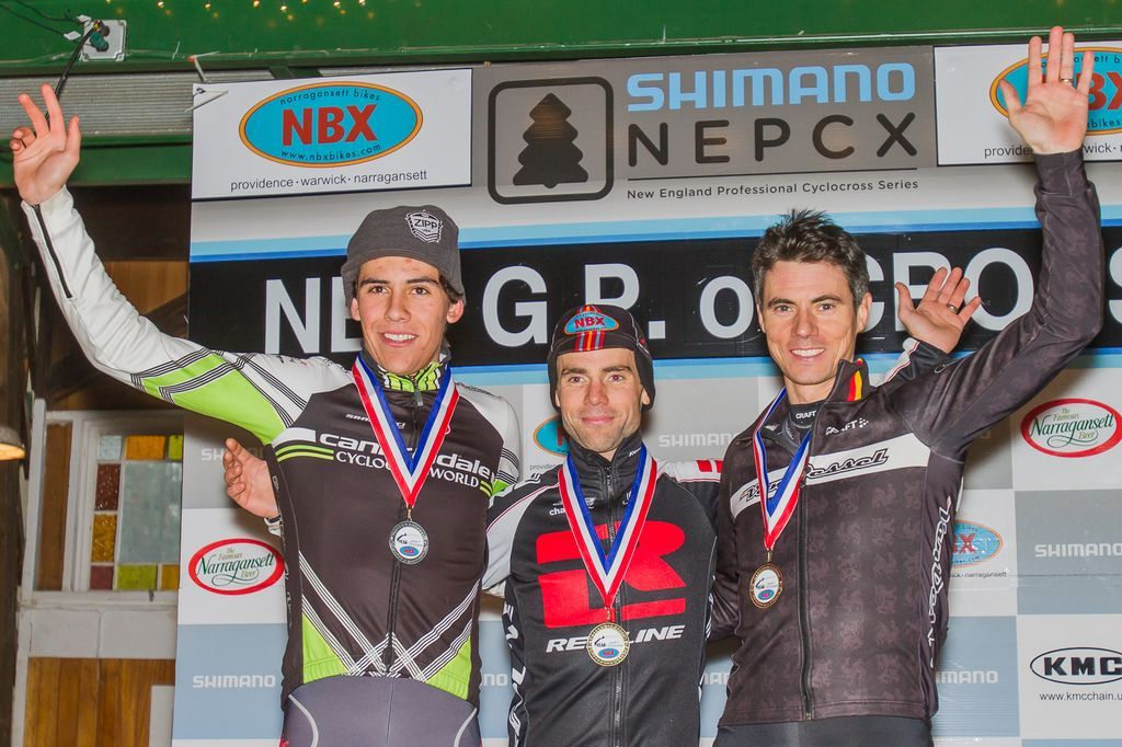 The Elite Men\'s podium (L-R): Curtis White (Cannondale p/b Cyclocrossworld.com), 2nd; Justin Lindine (Redline-NBX), 1st; Mike Garrigan (Van Dessel), 3rd. © Todd Prekaski