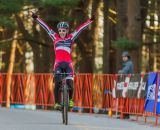 Emma White (Cyclocrossworld.com) celebrates her victory. © Todd Prekaski