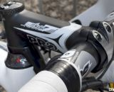 Niels Albert opts for the PRO Vibe 7s aluminum stem but the Vibe carbon bar on his Colnago Cross Prestige. © Cyclocross Magazine