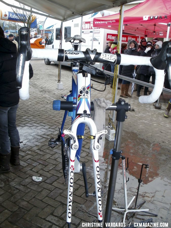 Niels Albert\'s Colnago Prestige is almost just a frame change, as his Di2 levers, TRP CR950 brakes and PRO Vibe cockpit remain the same. ©Cyclocross Magazine