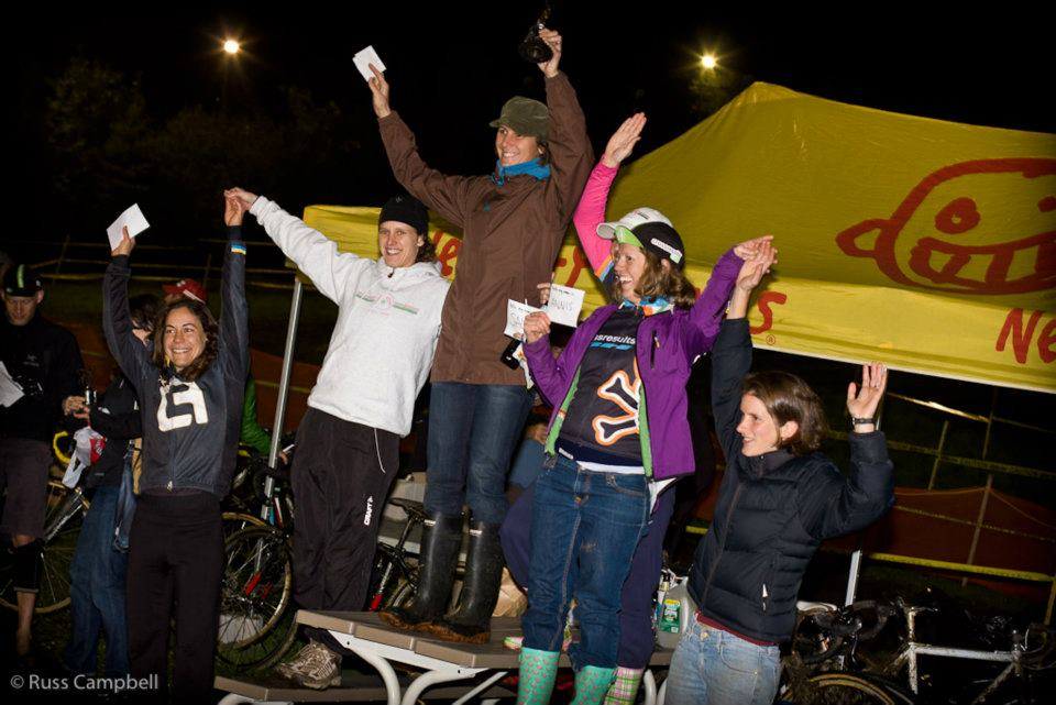 Women\'s podium, topped by Lynne Bessete. © Russ Campbell