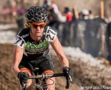 Christina Gokey-Smith raced in short sleeves and shorts, but raced hot to finish second.  © Mathew Lasala