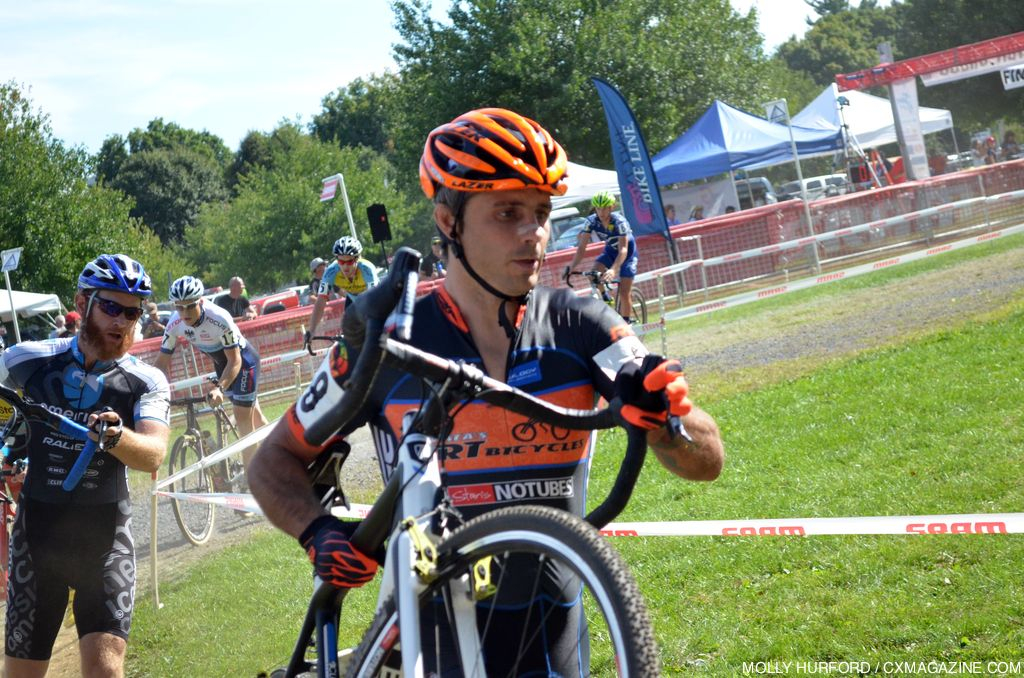 Weston Schempf heads over the barriers at Nittany Lion Cross Day 1. © Cyclocross Magazine