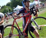 Craig Richey uses his early lead and hits the barriers first at Nittany Lion Cross Day 1. © Cyclocross Magazine