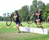 Arley Kemmerer sprints over the barriers at Nittany Lion Cross Day 2 2013. © Cyclocross Magazine