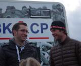 Jonathan Page enjoys good company, CXM's Dan Seaton, after the final race of the season. ? Jonas Bruffaerts