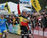 Jim Aernouts celebrates as he crosses the line in Oostmalle. ? Bart Hazen