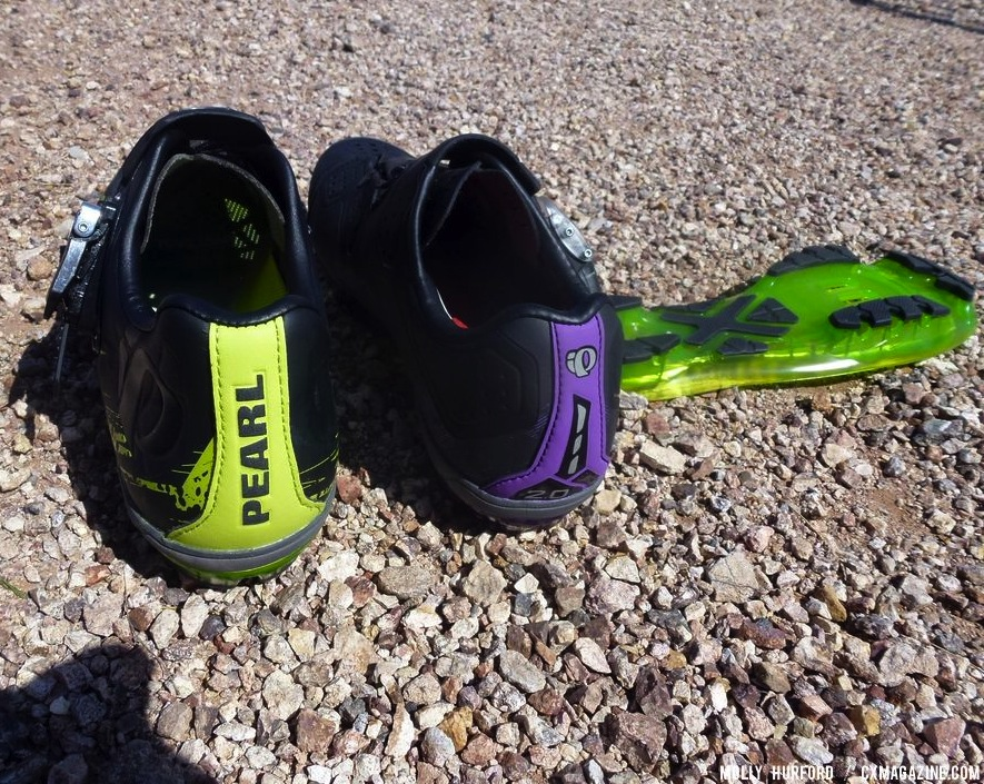 The backs of the shoes have socks that correspond to the shoe backs. © Cyclocross Magazine