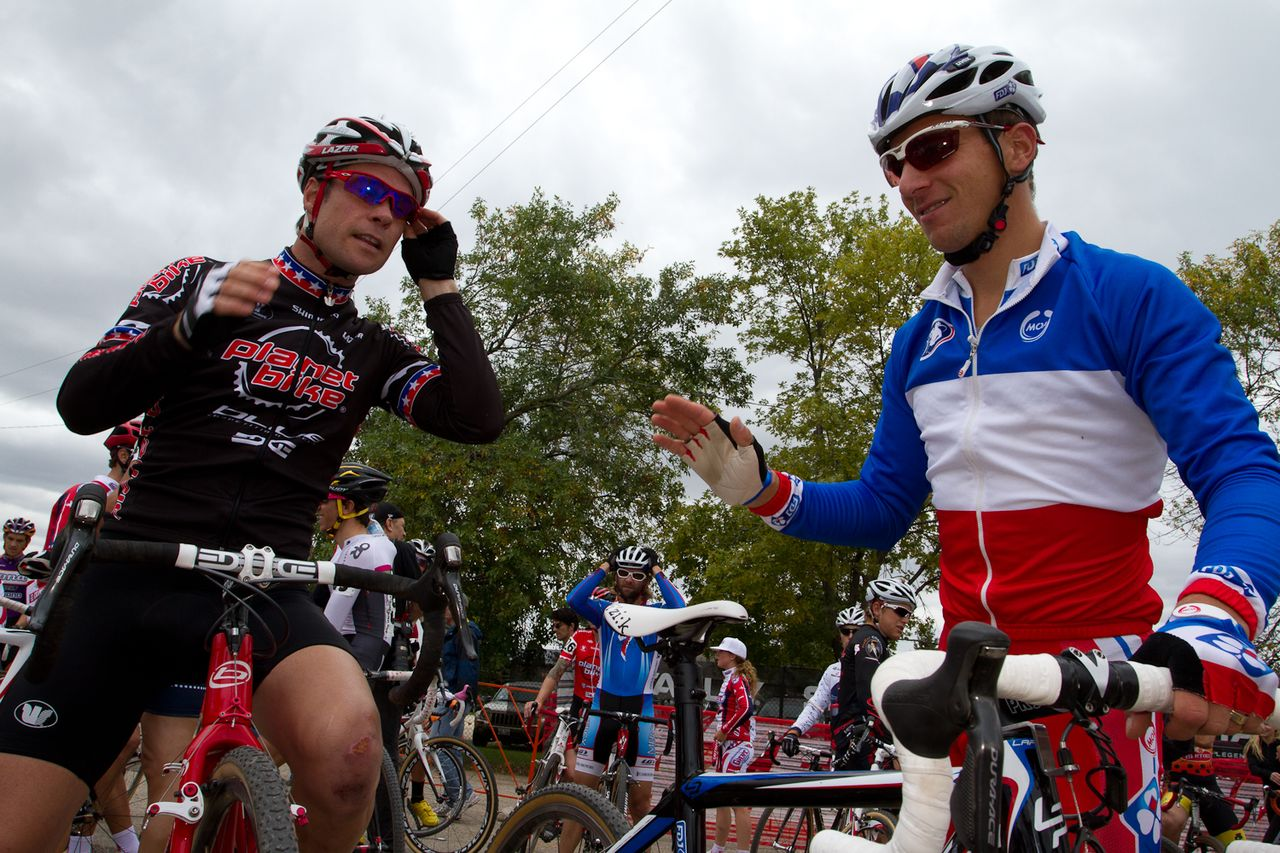 Jonathan Page (Planet Bike) and French national champion Francis Mourey before start. © Wil Matthews