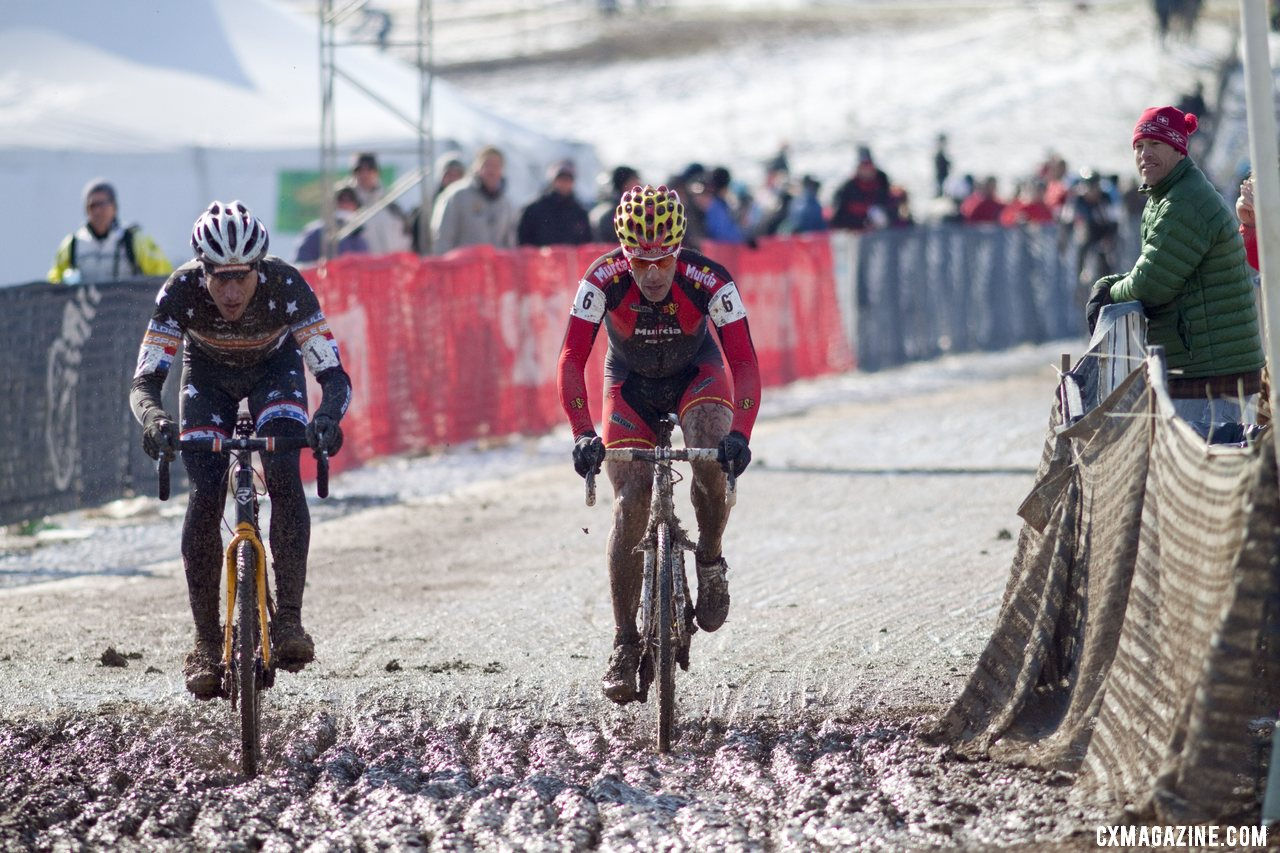 Webber and Pietro were battling for the title before mud-related mechanicals doomed their chances. Masters Men 40-44, 2013 Cyclocross World Championships. © Cyclocross Magazine