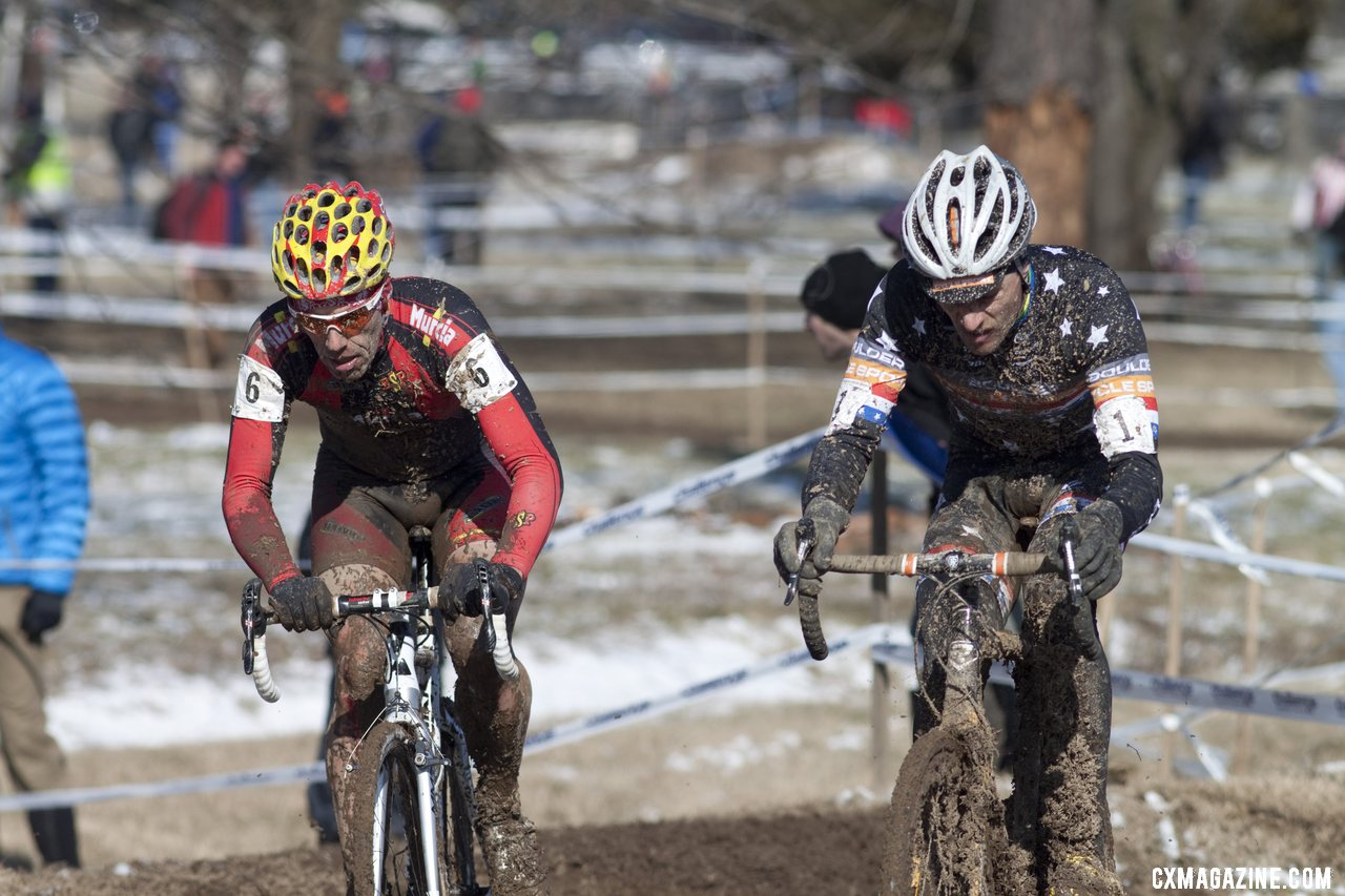 Pietro and Webber, on the only bikes they have left. Masters Men 40-44, 2013 Cyclocross World Championships. © Cyclocross Magazine