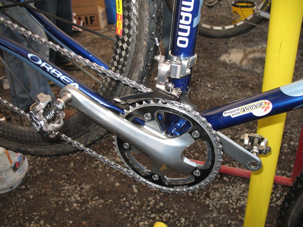 Dunlap chooses a double chainring setup with a Dura Ace front derailluer directing the chain. ? Cyclocross Magazine