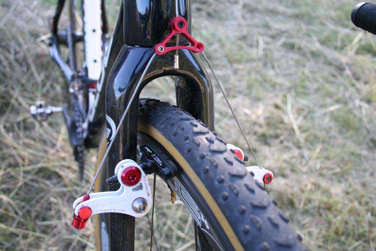 Page runs a high straddle cable for better braking. © Cyclocross Magazine
