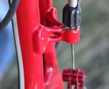 A derailleur adjustment barrel is used for the rear brakes. © Cyclocross Magazine