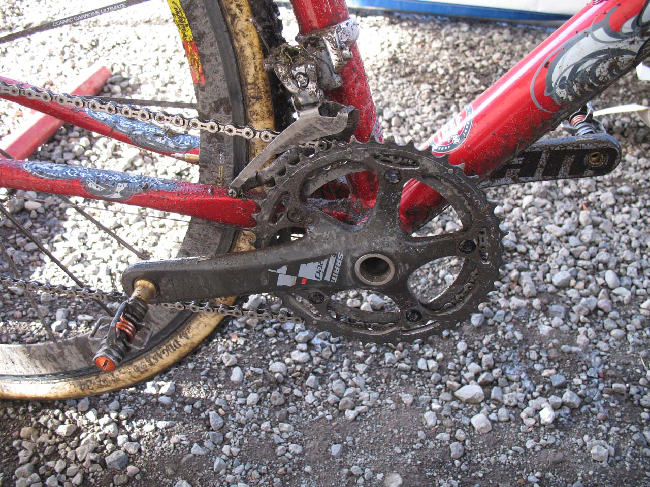 Wells uses a full SRAM Red drivetrain. ? Cyclocross Magazine