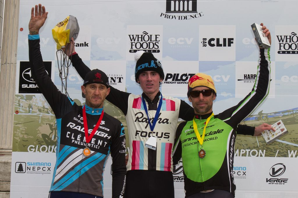 Today\'s Elite men\'s podium: Johnson, Berden, McDonald  . © Todd Prekaski