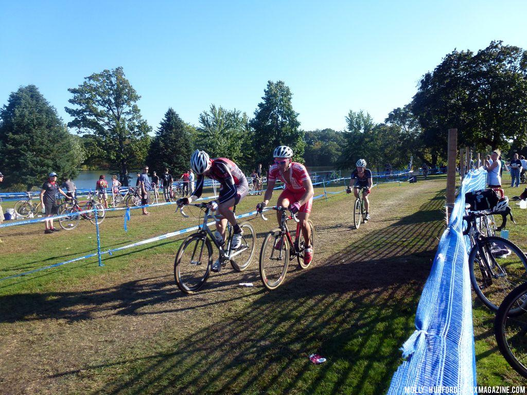 Two riders fight for the lead ahead of a more technical section of course.  © Cyclocross Magazine