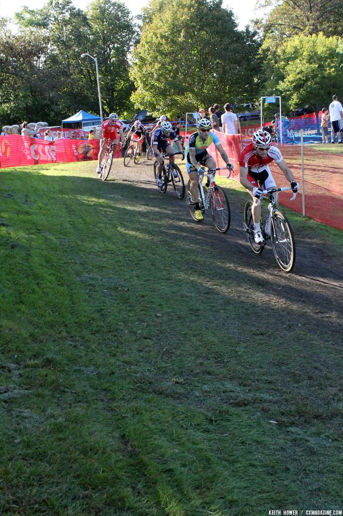 One rider drives the pace through a flatter section of the course. © Cyclocross Magazine