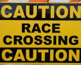 Perhaps it should also warn racers about the run-up?  by Janet Hill