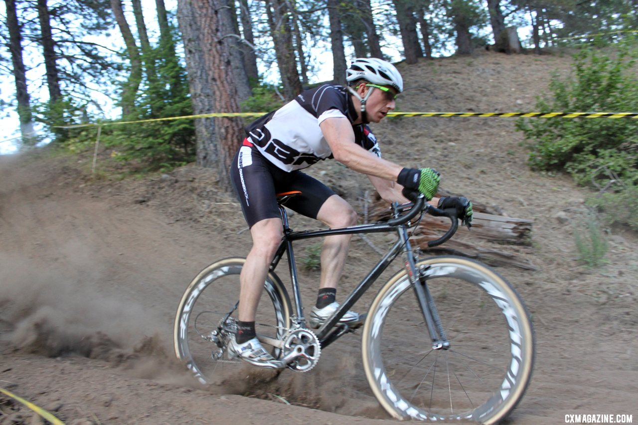 Stevenson floats the downhill. Raleigh Midsummer Night cyclocross race. © Cyclocross Magazine