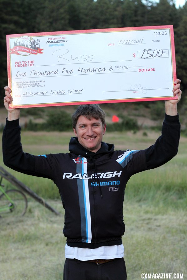 Russel Stevenson wins cash and a pro contract at the Raleigh Midsummer Night cyclocross race. © Cyclocross Magazine