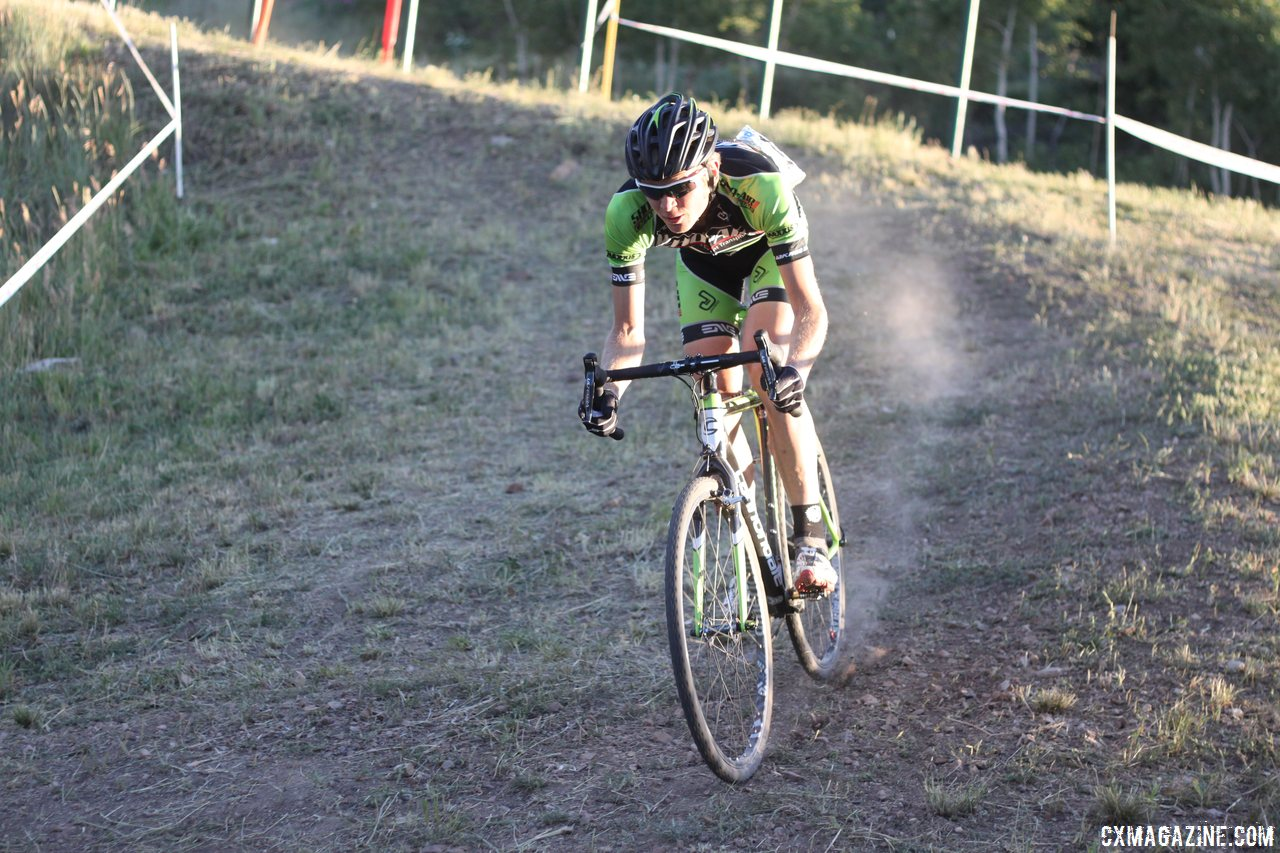 Alex Grant had a fast start but would falter after a flat. Elite Men, 2013 Raleigh Midsummer Night\'s race. © Cyclocross Magazine