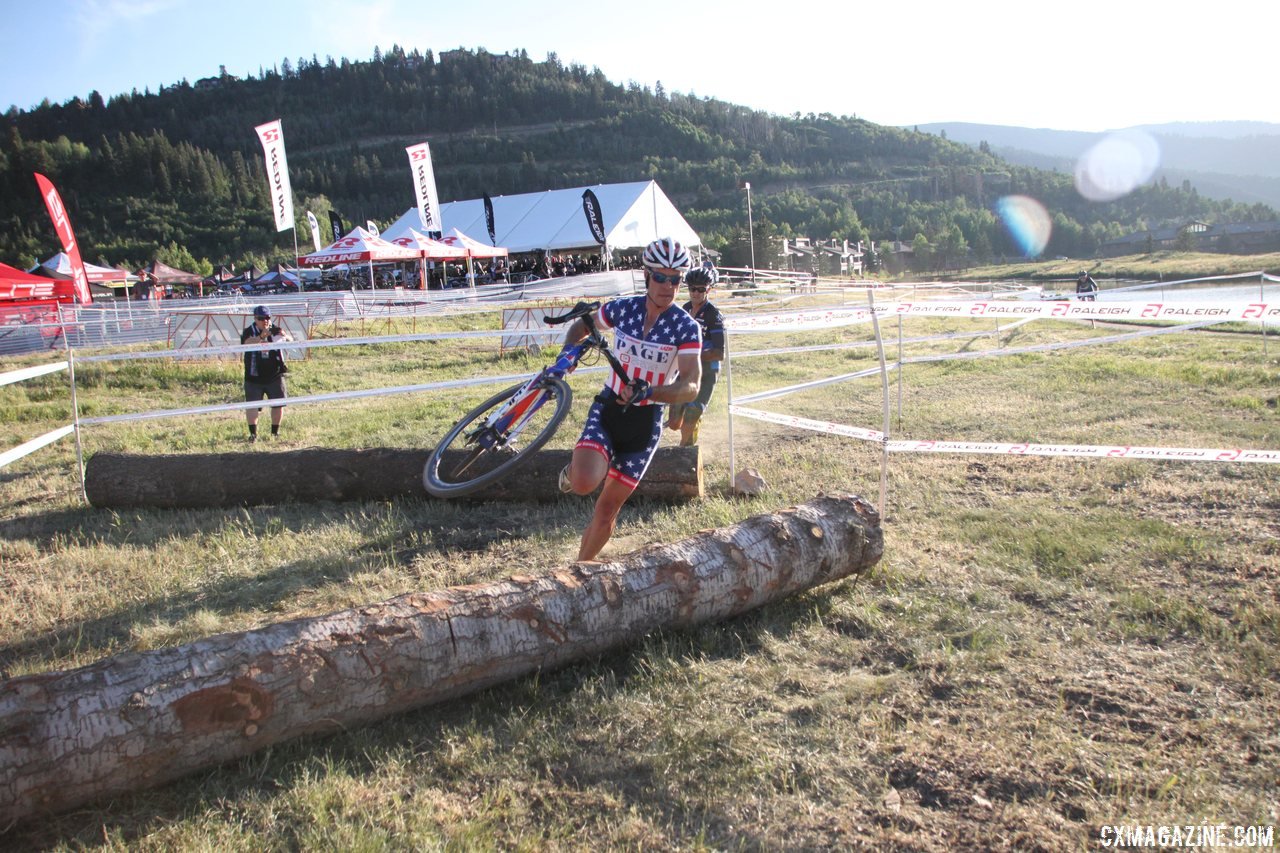 Page leads Berden through the logs, one of four dismounts for the average racer. © Cyclocross Magazine