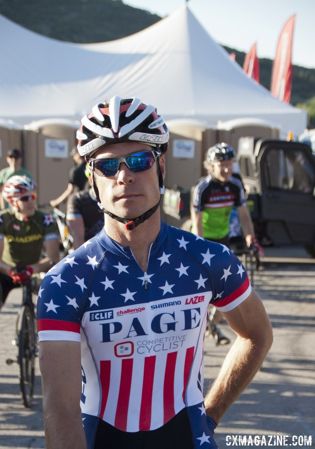 Jonathan Page shows off his fourth Elite Men\'s National Championship jersey. © Cyclocross Magazine