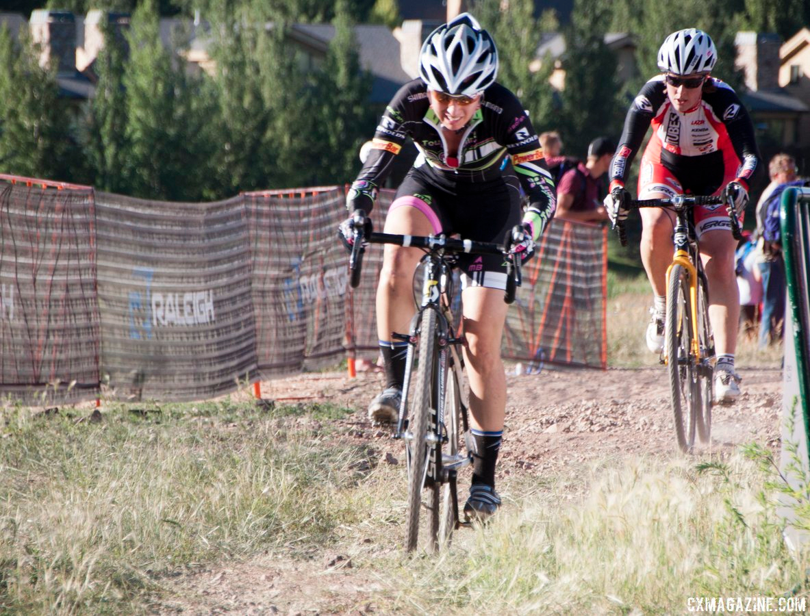 Charging to stay away from Kathy Sherwin at Raleigh Midsummer Night\'s Cross. © Cyclocross Magazine