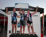 Podium, L to R: Erika Zaveta, Caroline Mani, Amanda Carey at Raleigh Midsummer Night's Cross. © Cyclocross Magazine