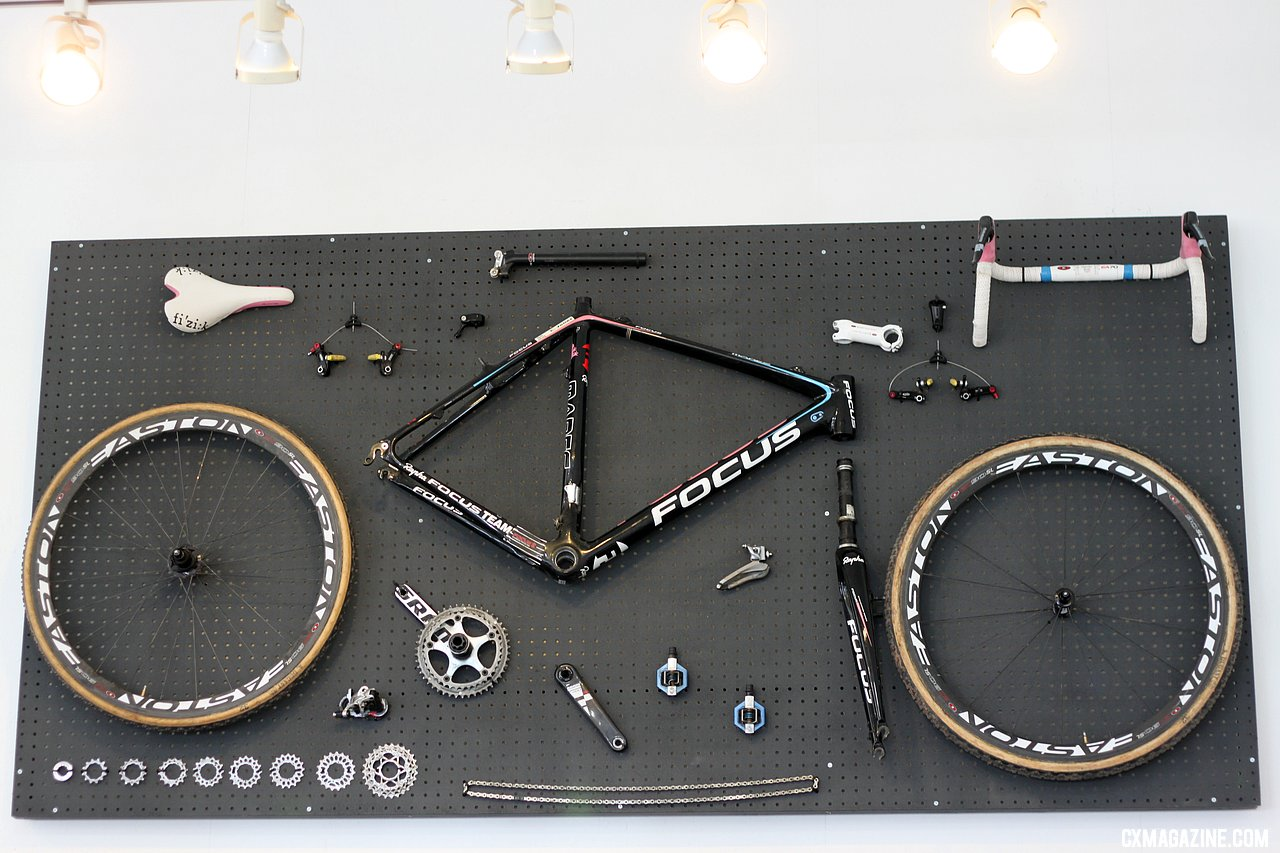 A Rapha-Focus team cyclocross bike artfully disassembled. © Cyclocross Magazine