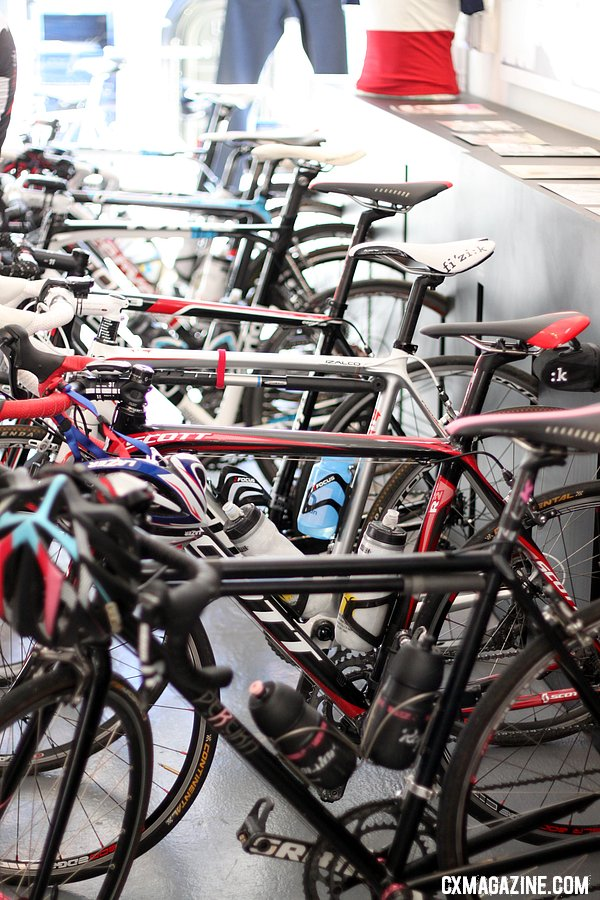 The wall rack at Rapha is a minimalist and effective. © Cyclocross Magazine