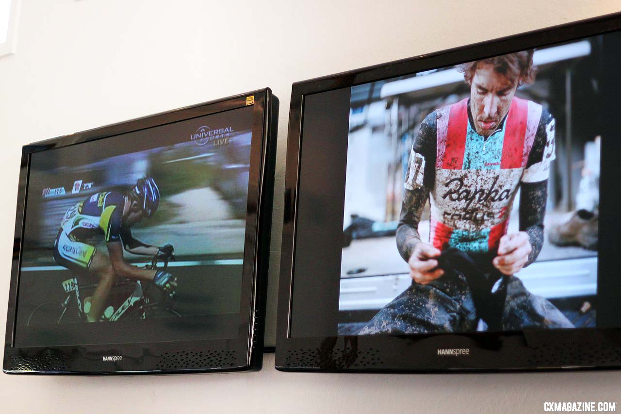 Watch the Giro and see a muddy Chris Jones on TV at the Rapha Cycle Club. © Cyclocross Magazine