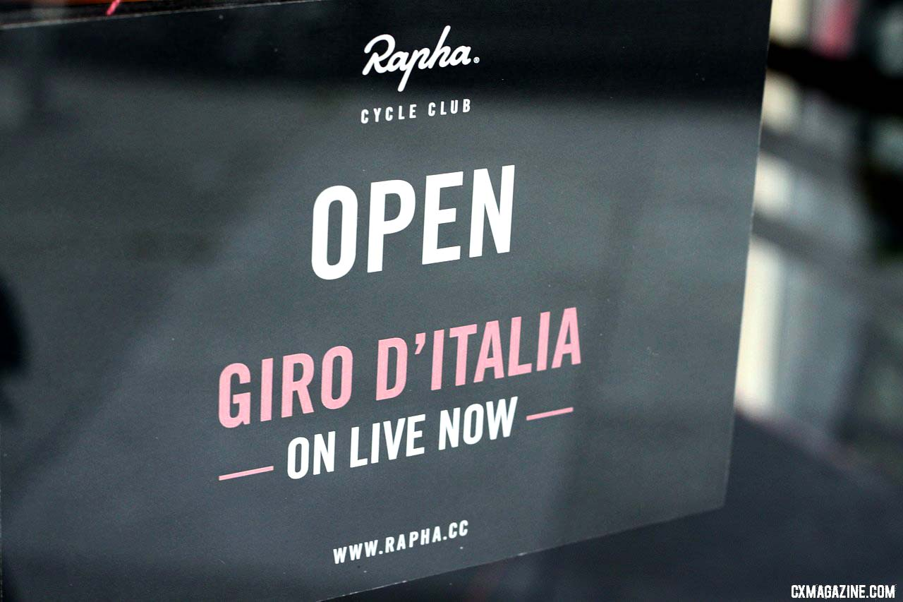 Rapha is open for the Giro D\'Italia live coverage: a cyclist sports (coffee) bar! © Cyclocross Magazine