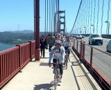 The Gentlemen's pack crossed the bridge into Marin  © Cyclocross Magazine