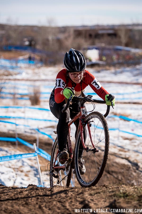 Brittlee Bowman in the women\'s 30-34 race at USA Cycling National Championships of Cyclocross. © Matt Lasala