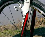 The Conquest's carbon fork, adorned with Kore Race+ cantilever brakes ? Gork Barrette