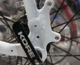 The Conquest Pro frame is ready for disc brakes, but its fork is not. © Cyclocross Magazine