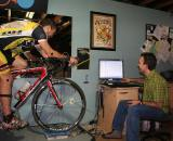 Retul bike fit: Geeking out over data between runs © Brody Boeger