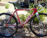 The 2013 Ridley X-Fire cross bike in Hot Tomale red and mechnical disc brakes.  ©Cyclocross Magazine