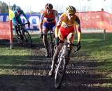 Gerben de Knegt leads Vantornout and Chainel through a corner. ? Bart Hazen