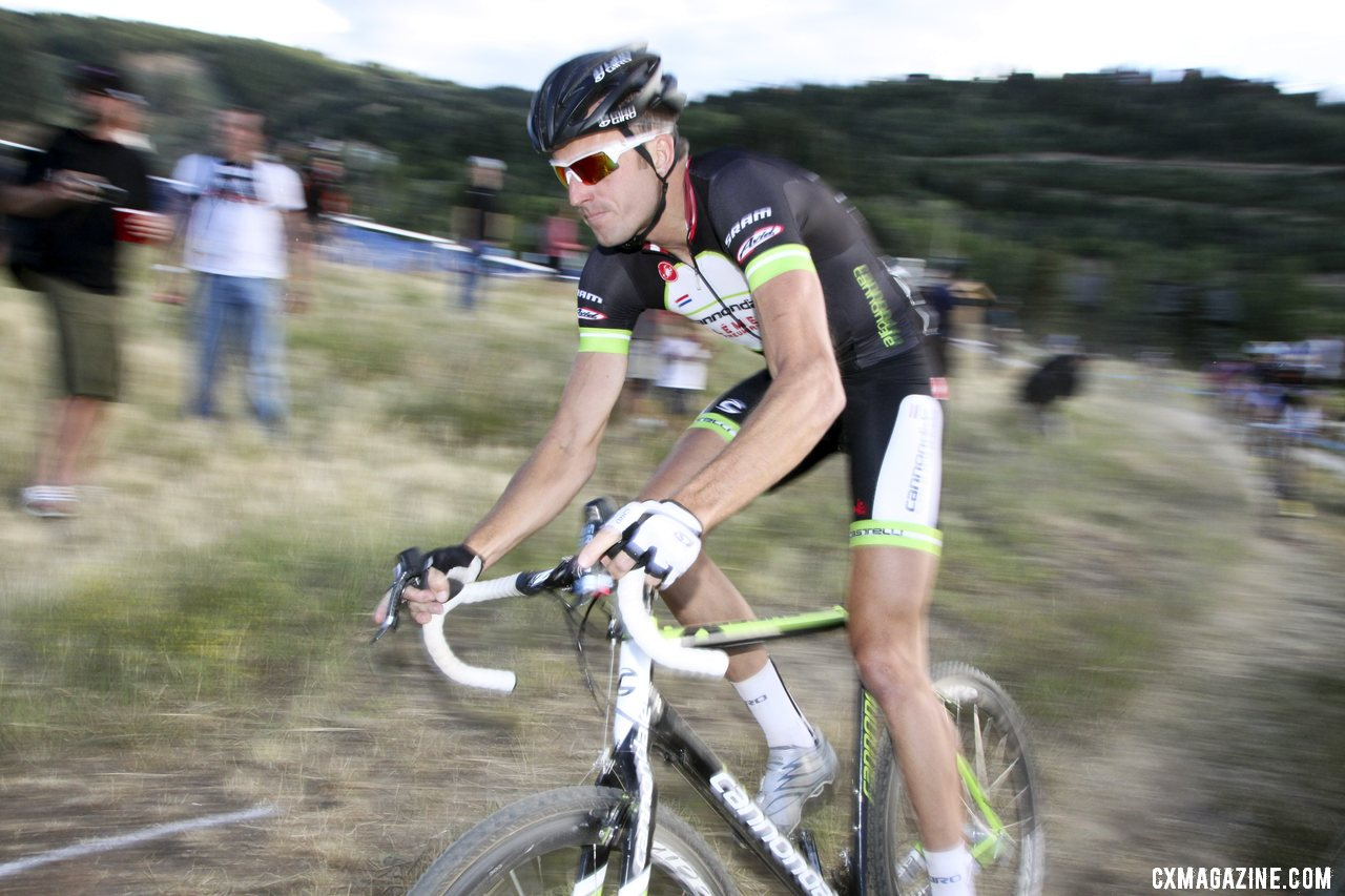 Ryan Trebon (Cannondale-Clement) racing to the win at the 2012 Raleigh Midsummer Night Cyclocross Race. @Cyclocross Magazine